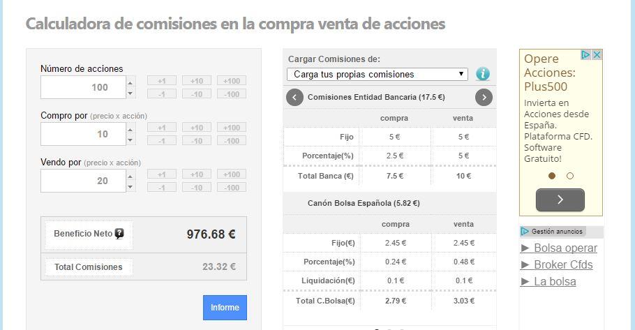 comparar ahorrar calcular comisiones broker